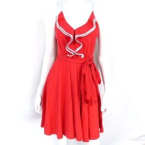LC Lauren Conrad Red Gray Trim Dress Ruffle